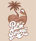 Palm Spring Gömma i handflatan den utdragna illustrationen för vektorhanden av munnen med havsvågen och i stället den isolerade t royaltyfri illustrationer