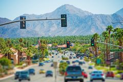 Palm Springs Highway. And the Cityscape. Palm Springs, California, United States. Coachella Valley royalty free stock photo