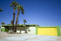 Palm Springs House with Yellow Garage Stock Images