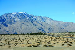 Palm Springs Mountain. California with snow on top on a sunny day stock image