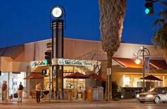 Palm Springs at Night. Palm Springs main intersection--Palm Canyon at Tahquitz Stock Photo
