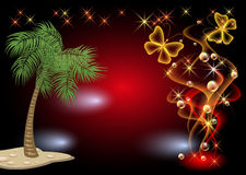 Palm, stars, smoke and butterfly. Glowing background with palm, stars, smoke and butterfly Royalty Free Stock Photography