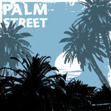 Palm street. Vector illustration of grunge palms Royalty Free Stock Image