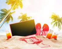 Palm Summer Holidays Beach Accessories Board Chalk Stock Photo