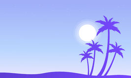 Palm and sun silhouettes scenery Stock Image