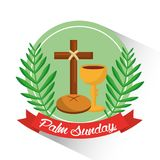 Palm sunday badge cross bread cup branch poster. Vector illustration Stock Photos