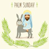 Palm Sunday banner as religious holidays symbols. For your decoration Royalty Free Stock Image
