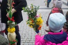 Palm Sunday. Bolesławiec, Poland, 9 April 2017 unidentified girl holds a palm on palm Sunday on 9 April 2017 Royalty Free Stock Photography