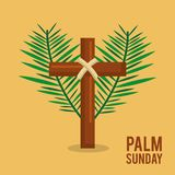 Palm sunday branches text with cross easter celebration. Vector illustration Royalty Free Stock Images