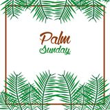 Palm sunday card with leaves border frame. Vector illustration Stock Photography