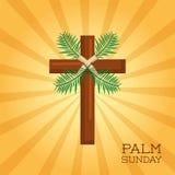 Palm sunday cross card celebration christianity. Vector illustration Stock Photos