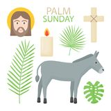 Palm Sunday  flat icon set. Hosanna collection of flat design objects isolated on the dark background,  illustration Stock Photo