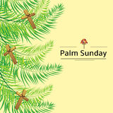 Palm Sunday frond and cross  vector background. Vector illustration for the Christian holiday Royalty Free Stock Image