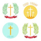Palm Sunday and Good friday icons as religious holidays symbols. For your decoration Stock Photos