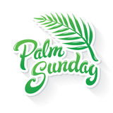 Palm Sunday Greeting. Palm Sunday hand drawn lettering design  illustration. Beautiful typographic greeting with palm leaf. Chistian Celebration of Jesus Royalty Free Stock Photography