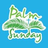 Palm Sunday holiday logo leave card. Palm Sunday holiday card, poster with palm leaves logo. Vector illustration Royalty Free Stock Images