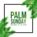 Palm Sunday holiday card, poster with palm leaves border, frame. Vector background. Palm Sunday holiday card, poster with realistick palm leaves border, frame Stock Photo