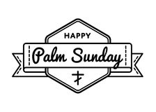 Palm Sunday holiday greeting emblem. Palm Sunday emblem isolated vector illustration on white background. 9 april world christian religious holiday event label Royalty Free Illustration