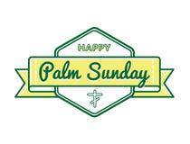 Palm Sunday holiday greeting emblem. Palm Sunday emblem isolated vector illustration on white background. 9 april world christian religious holiday event label Stock Illustration