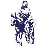 Palm Sunday, Jesus Christ rides on a donkey into Jerusalem , symbol of Christianity vector illustration sketch Stock Images