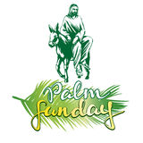 Palm Sunday, Jesus Christ rides on a donkey into Jerusalem , symbol of Christianity vector illustration sketch logo Stock Image