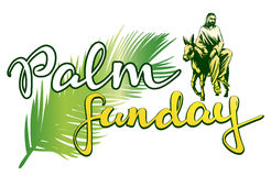 Palm Sunday, Jesus Christ rides on a donkey into Jerusalem , symbol of Christianity vector illustration sketch logo Stock Photo