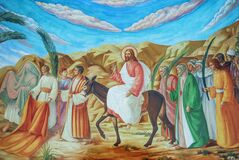 Free Palm Sunday - Painting In The Church In The Jerusalem Royalty Free Stock Photo - 177126955