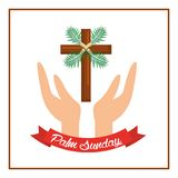 Palm sunday passion christ hands with cross. Vector illustration Royalty Free Stock Photos