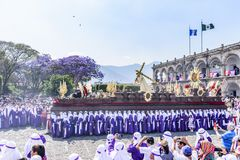 Palm Sunday procession in front of City Hall, Antigua, Guatemala. Antigua, Guatemala -  March 25, 2018: Palm Sunday procession in front of City Hall & central stock photo