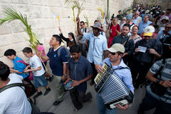 Palm Sunday Procession in Jerusalem Royalty Free Stock Photography