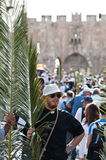 Palm Sunday Procession in Jerusalem Stock Image