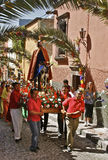 Palm Sunday Procession, San Miguel de Allende. Palm Sunday Procession is in many colonial towns of Mexico a big event. The community people enact the last days Stock Photos