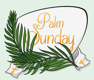 Palm Sunday Sign with Branches and Stole, Vector Illustration royalty free stock image