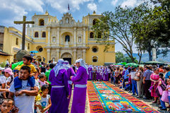 Palm Sunday spectacle, Antigua, Guatemala. Antigua, Guatemala - April 1, 2012: Palm Sunday outside La Merced Church in Spanish colonial town & UNESCO World stock image