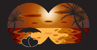 Palm in the sunset. Vector illustration. EPS 10 Stock Image
