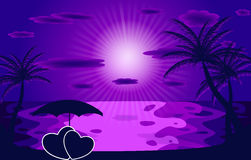 Palm in the sunset. Vector illustration. EPS 10 Royalty Free Stock Photos