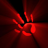Palm symbol hand mark light flare Stock Photo
