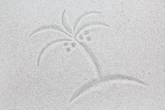 Palm symbol on sand, vacation postcard Stock Photography