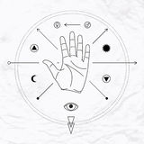 Palm with symbols. Vector linear illustration of open hand in circle with crossed arrows, sun, moon, man woman symbols and elements. Abstract occult, mystic Royalty Free Stock Photos