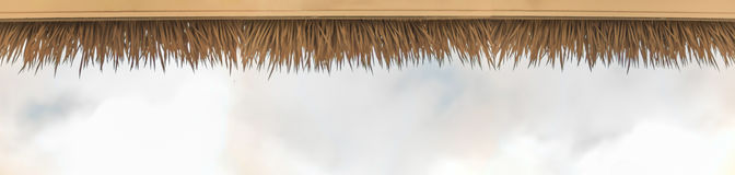 Palm thatch roof. Panoramic image of an artificial palm thatched roof with a sky background stock image