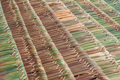Palm thatch roofs. Detail of new palm thatch roofs ready to use Stock Photos