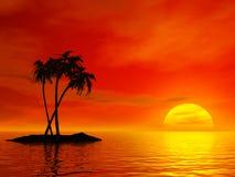 Palm tree. And ocean. 3D rendered scene stock illustration