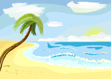Palm tree. A lonely palm tree on beach stock illustration