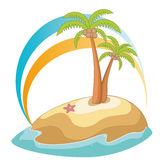 Palm tree. Illustration of isolated palm trees with coconut on white background Royalty Free Stock Photo