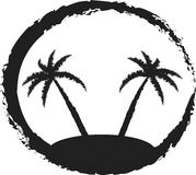 Palm tree. Two palm trees.black white silhouette Royalty Free Stock Photos