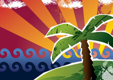 Palm tree. Sunset with a palm tree. Vector illustration Royalty Free Stock Images