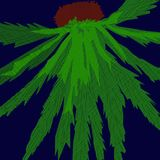 Green flower in the night. Palm tree abstraction on blue setting, image from a CAD drawing like a traditional oriental ink painting, becomes a night strange Stock Photo