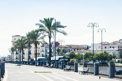 Palm tree alley with metal benches in Catania, Sicily, Southern Italy.  royalty free stock photography