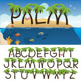 Palm tree alphabet with tropical background Stock Images