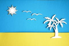 The palm tree on the background of sand and sky, with the sun and seagulls stock illustration